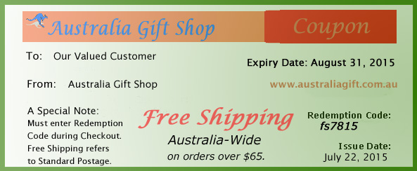 Coupon for free shipping Australia-wide on orders over $65 from Australia Gift Shop during August, 2015.