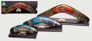 Corporate Gifts : Boxed Boomerang : Black Wattle Series Hand Painted with Display Stand
