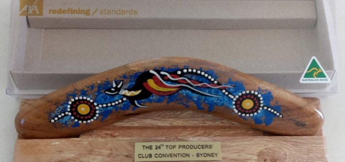 Aboriginal Corporate Gifts – Gift Boxed Boomerang custom engraved and foil printed as Australian corporate gift for international business conference held in Australia