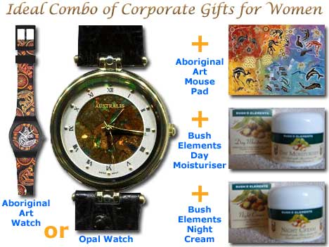 Combo of Corporate Gifts for Women : watch, mousepad, day moisturiser and night cream
