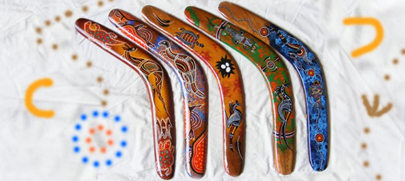 Boomerangs - 20-inch Modern Aboriginal Art Design Hand-Painted