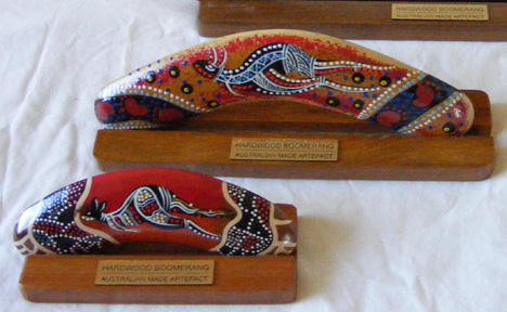 Plaques on Display Stands with Boxed Boomerangs from the Aboriginal Art Corporate Gifts Range.