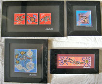 :: Aboriginal Art Framed Canvas : in 4 sizes