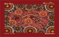 "Aboriginal Art Dreamtime Hand Painting on Canvas 19.3 X 24.4cm : ""Red Roo"" Design (Unframed)"