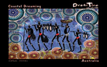 "Aboriginal Art Dreamtime Hand Painting on Canvas 19.3 X 24.4cm : ""Coastal Dreaming"" Design (Unframed)"