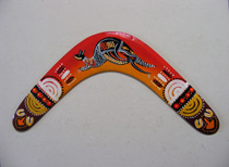 A Returning Boomerang : with Red/Orange Kangaroo design 14""