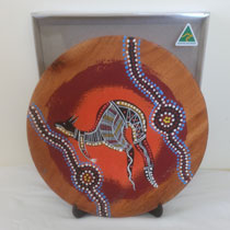 :: A Plate : Boxed, Timber, Hand Painted Aboriginal Art, incl. Display Stand