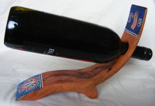 Wine Holder : Timber with Painted and Burnt Aboriginal Art, Curved Leg