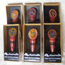 :: A Wine Stopper : Gift Boxed, Hand Painted Aboriginal Art Design, Timber
