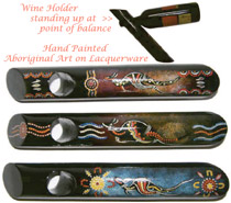 A Wine Holder : Lacquerware, Round, Timber with Hand Painted Aboriginal Art