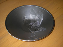 ":: 8"" Bowl with Aboriginal Art Brolga Design on Hand Crafted Metal"
