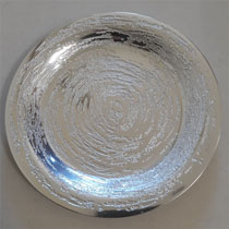 "8"" Plate with Swirl Design on Hand Crafted Metal"