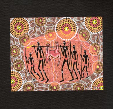 "Aboriginal Hand Painting on Canvas 15 X 15cm : ""Kangaroo Hunt"" Design (Unframed)"
