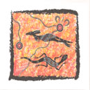 "Aboriginal Hand Painting on Canvas 15 X 15cm : Australian Theme with ""Desert Meeting"" design ( Unframed )"