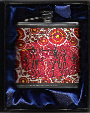 "Hip Flask : Aboriginal Theme with ""Kangaroo Hunt"" design"