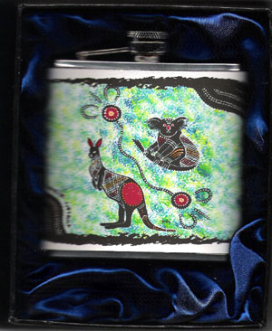 Hip Flask : Australian Theme with a traditional art design displaying the Iconic Kangaroo and Koala