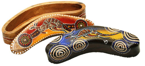 Aboriginal Art Corporate Gifts are a speciality of Australia Gift Shop www.australiagift.com.au - Trinket Box - Timber, Boomerang-Shaped, 8 inches long